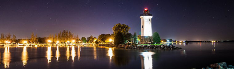 Lighthouse in Fond du Lac in the evening.